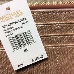 1925e6e201fe17 MICHAEL Michael Kors Bags - Michael Kors Center Stripe Leather Wallet - Ballet